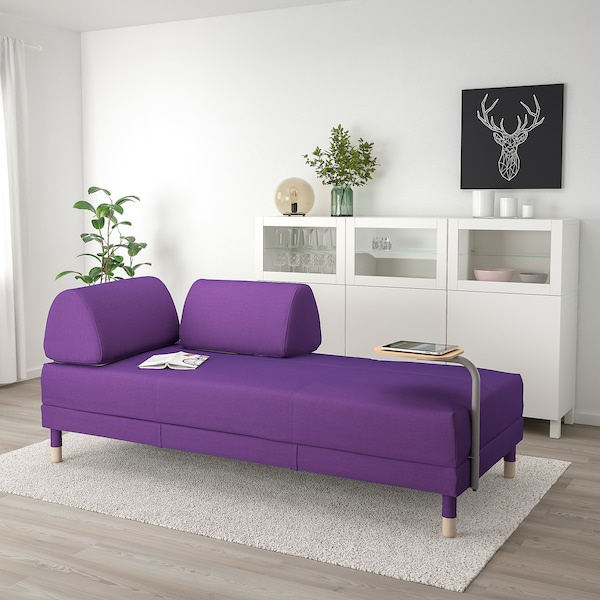 Pleasant Sofa Bed With Side Table Flottebo Vissle Purple Theyellowbook Wood Chair Design Ideas Theyellowbookinfo