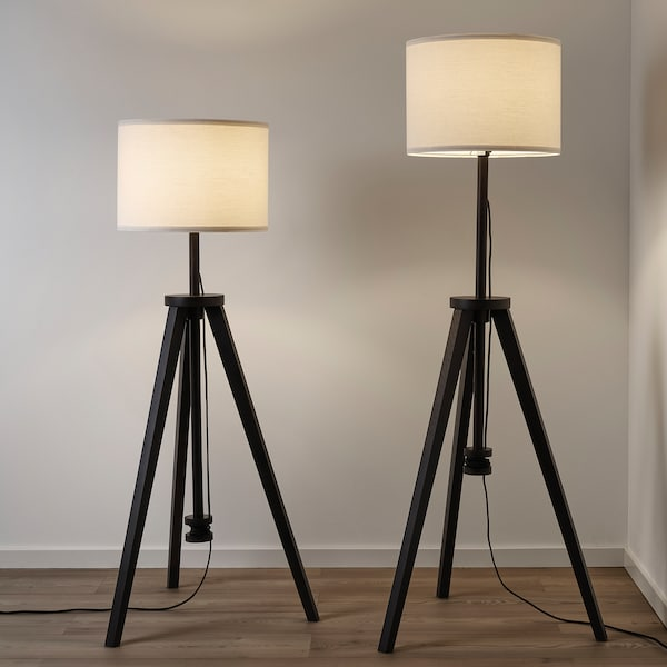 Floor Lamp With Led Bulb Lauters Brown Ash White