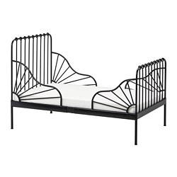 MINNEN ext bed frame with slatted bed base, black