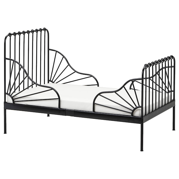 Ikea Base Letto.Ext Bed Frame With Slatted Bed Base Minnen Black