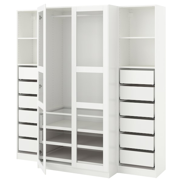 Wardrobe Pax White Tyssedal Glass