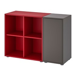 EKET storage combination with feet, dark gray, red