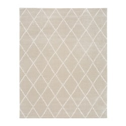 VANTORE rug, low pile, beige, white diamond pattern