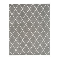 VANTORE rug, low pile, gray, white diamond pattern