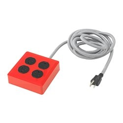 KOPPLA 4 outlet power strip, grounded, red