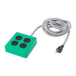 KOPPLA 4 outlet power strip, grounded, dark green