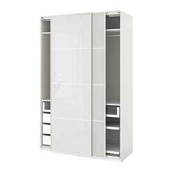 PAX wardrobe, white, Hokksund light grey