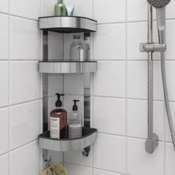 BROGRUND corner wall shelf unit, stainless steel