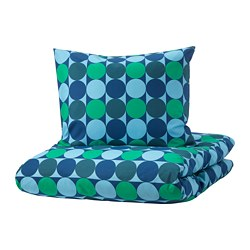 KROKUSLILJA quilt cover and pillowcase, blue/green