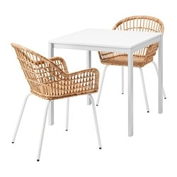 MELLTORP /  NILSOVE table and 2 chairs, white rattan, white