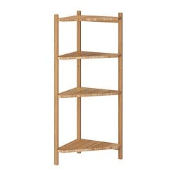 RÅGRUND corner shelf unit, bamboo