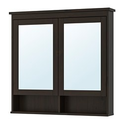 HEMNES mirror cabinet with 2 doors, black-brown stain
