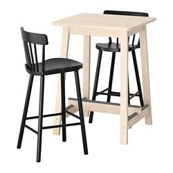 NORRÅKER /  NORRARYD bar table and 2 bar stools, birch, black