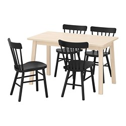 NORRÅKER /  NORRARYD table and 4 chairs, birch, black