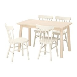 NORRÅKER /  NORRARYD table and 4 chairs, birch, white