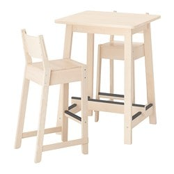 NORRÅKER /  NORRÅKER bar table and 2 bar stools, birch birch