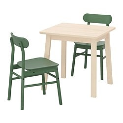 NORRÅKER /  RÖNNINGE table and 2 chairs, birch, green