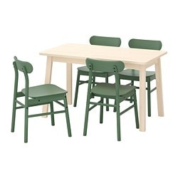 NORRÅKER /  RÖNNINGE table and 4 chairs, birch, green