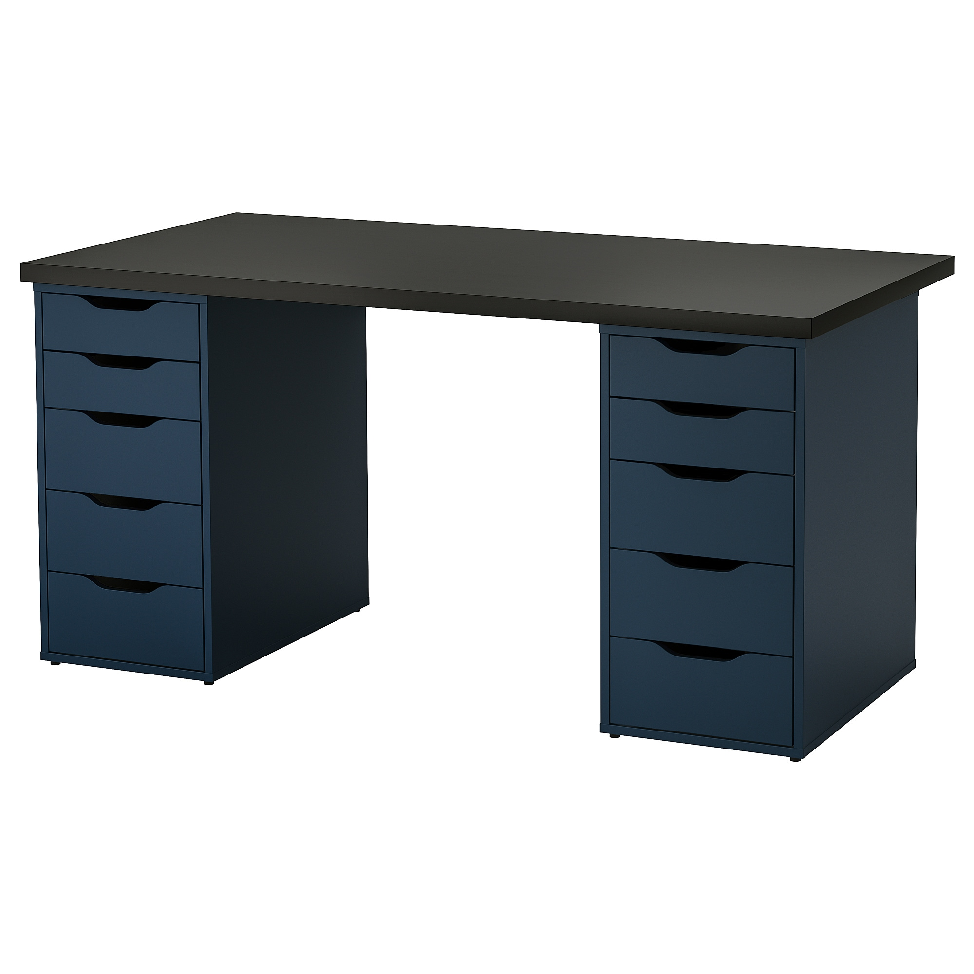 Linnmon Alex Table Black Brown Blue Ikea