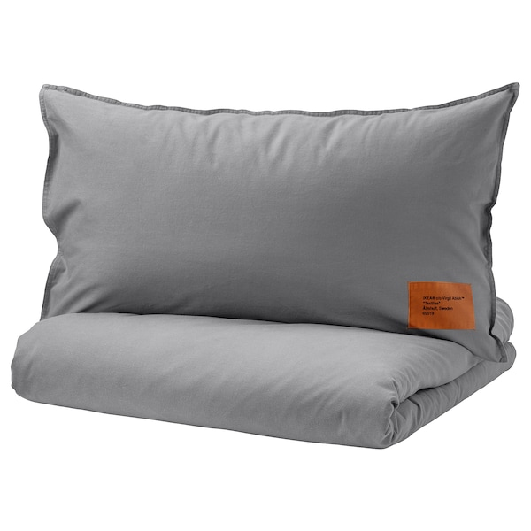 Quilt Cover And Pillowcase Markerad Grey