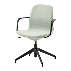 LÅNGFJÄLL conference chair with armrests, Gunnared light green, black