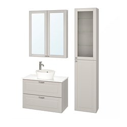 GODMORGON/ TOLKEN /  KATTEVIK bathroom furniture, set of 6, Kasjön light grey, marble effect Voxnan tap