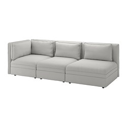 VALLENTUNA 3-seat modular sofa, with open end and storage, Orrsta light grey