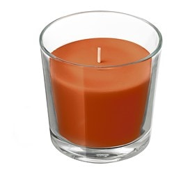 SINNLIG scented candle in glass, Pumpkin spice, dark orange