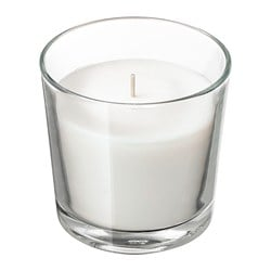 SINNLIG scented candle in glass, Coconut shores, white