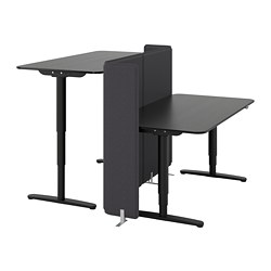 BEKANT desk sit/stand with screen, black stained ash veneer, black