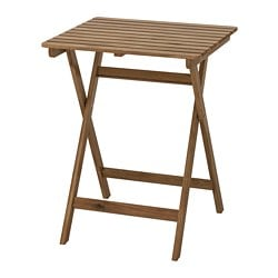 ASKHOLMEN table, outdoor, foldable grey-brown light brown grey-brown stained light brown stained