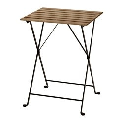 TÄRNÖ table, outdoor, acacia black, steel grey-brown stained