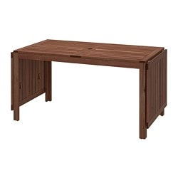 ÄPPLARÖ drop-leaf table, outdoor, brown stained