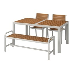 SJÄLLAND table+2 chairs+ bench, outdoor, light brown, light grey