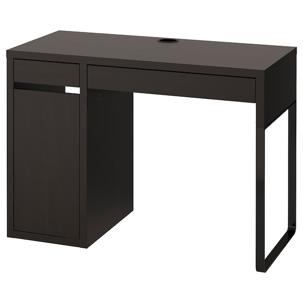MICKE Desk, black-brown