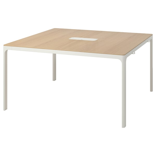 Conference Table Bekant White Stained Oak Veneer White