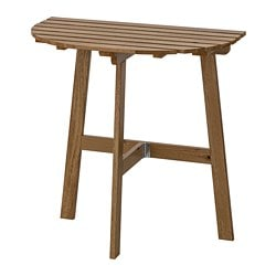 ASKHOLMEN table for wall, outdoor, folding grey-brown stained light brown light brown stained