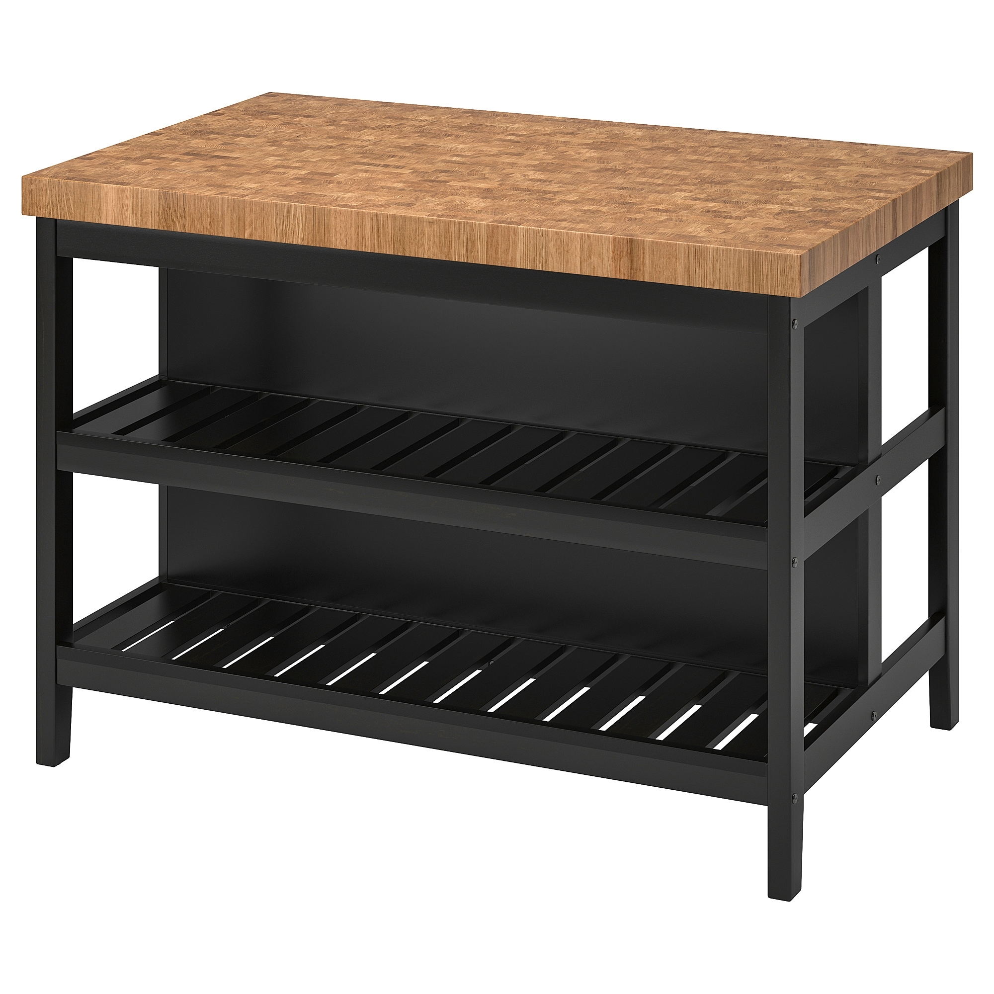 Ordinaire Kitchen Island VADHOLMA Black, Oak