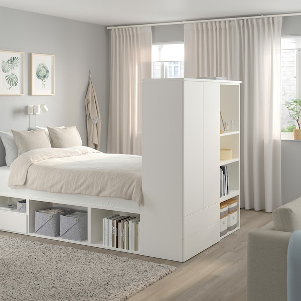 Platsa Bed Frame With 2 Door 3 Drawers White Fonnes Ikea