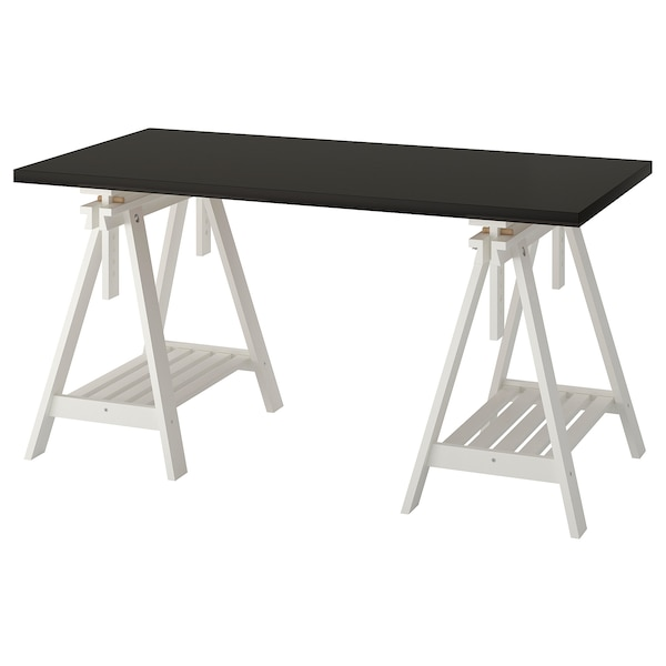 Scrivania Vika Ikea.Table Linnmon Finnvard Black Brown White