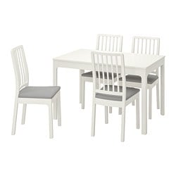 EKEDALEN /  EKEDALEN table and 4 chairs, white, Orrsta light grey