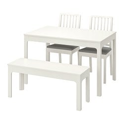 EKEDALEN /  EKEDALEN table with 2 chairs and bench, white, Orrsta light grey