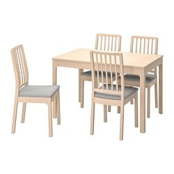 EKEDALEN /  EKEDALEN table and 4 chairs, birch, Orrsta light grey