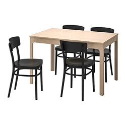 EKEDALEN /  IDOLF table and 4 chairs, birch, black