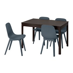 EKEDALEN /  ODGER table and 4 chairs, dark brown, blue