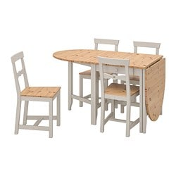 GAMLEBY table and 4 chairs, light antique stain, grey