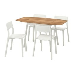 IKEA PS 2012 /  JANINGE table and 4 chairs, bamboo, white