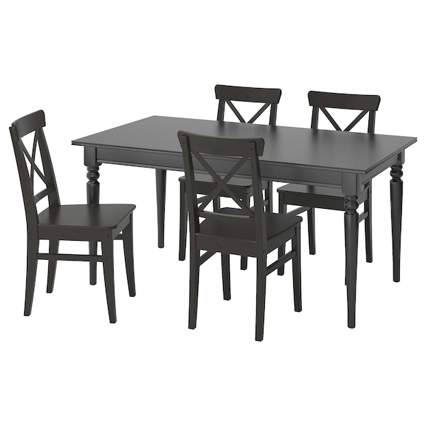 Table and 4 chairs INGATORP / INGOLF black, brown-black