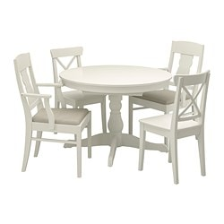 INGATORP /  INGOLF table and 4 chairs, white, Nordvalla beige