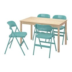 INGO / FRODE table and 4 chairs, pine, turquoise